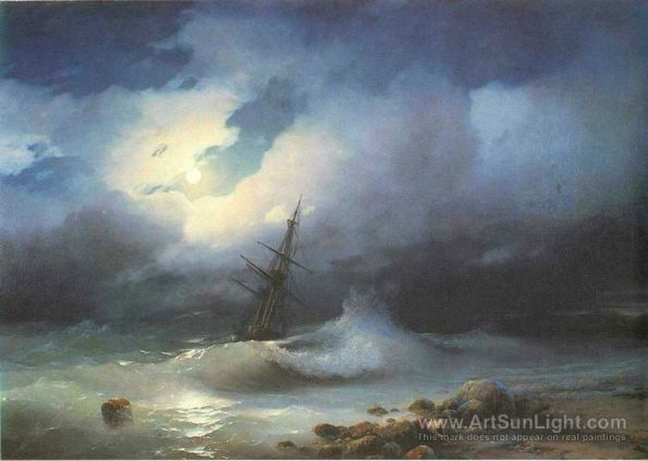 rough-sea-at-night-by-Ivan-Aivazovsky-090